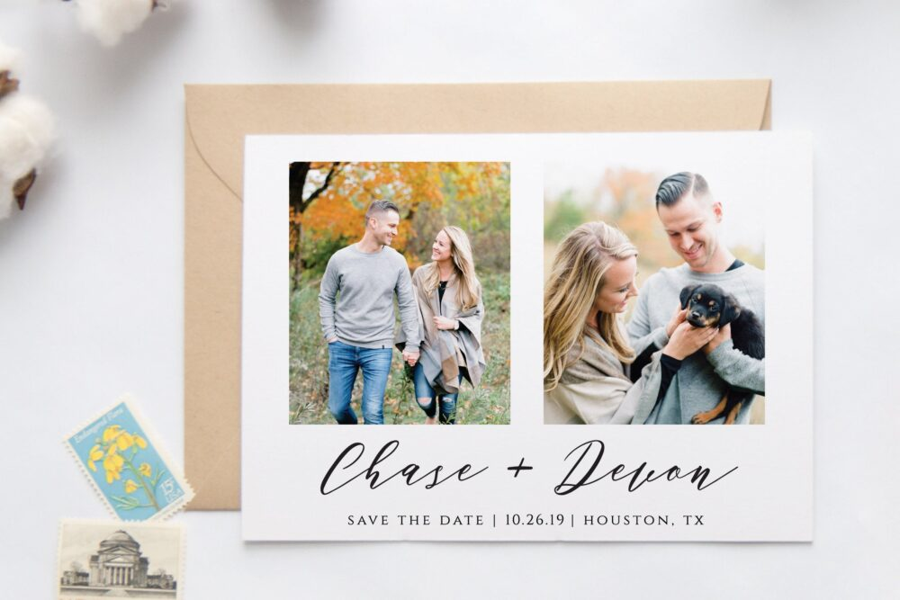 Save The Date, Modern Classic The Calligraphy Style, Polaroid Photo Our Custom Minimalist Date Prints