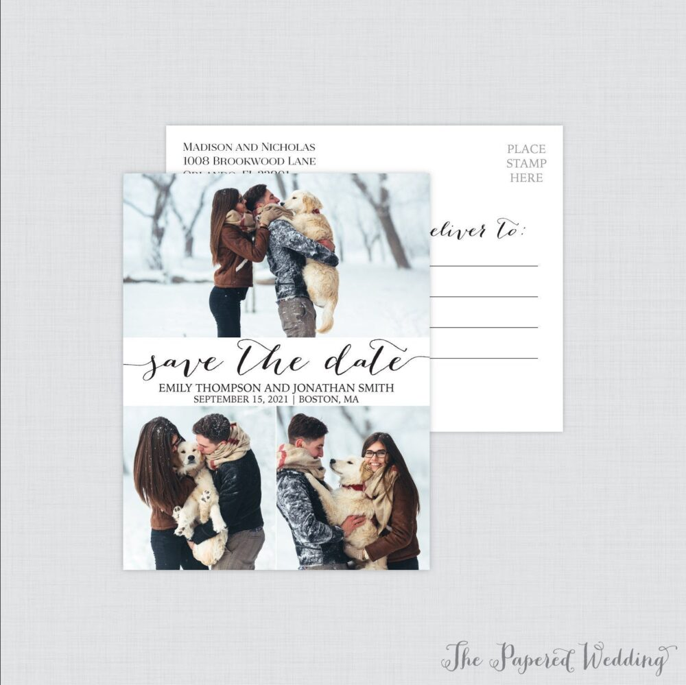 Printable Or Printed Picture Collage Save The Date Postcards - Our With Three Photos Black & White 111