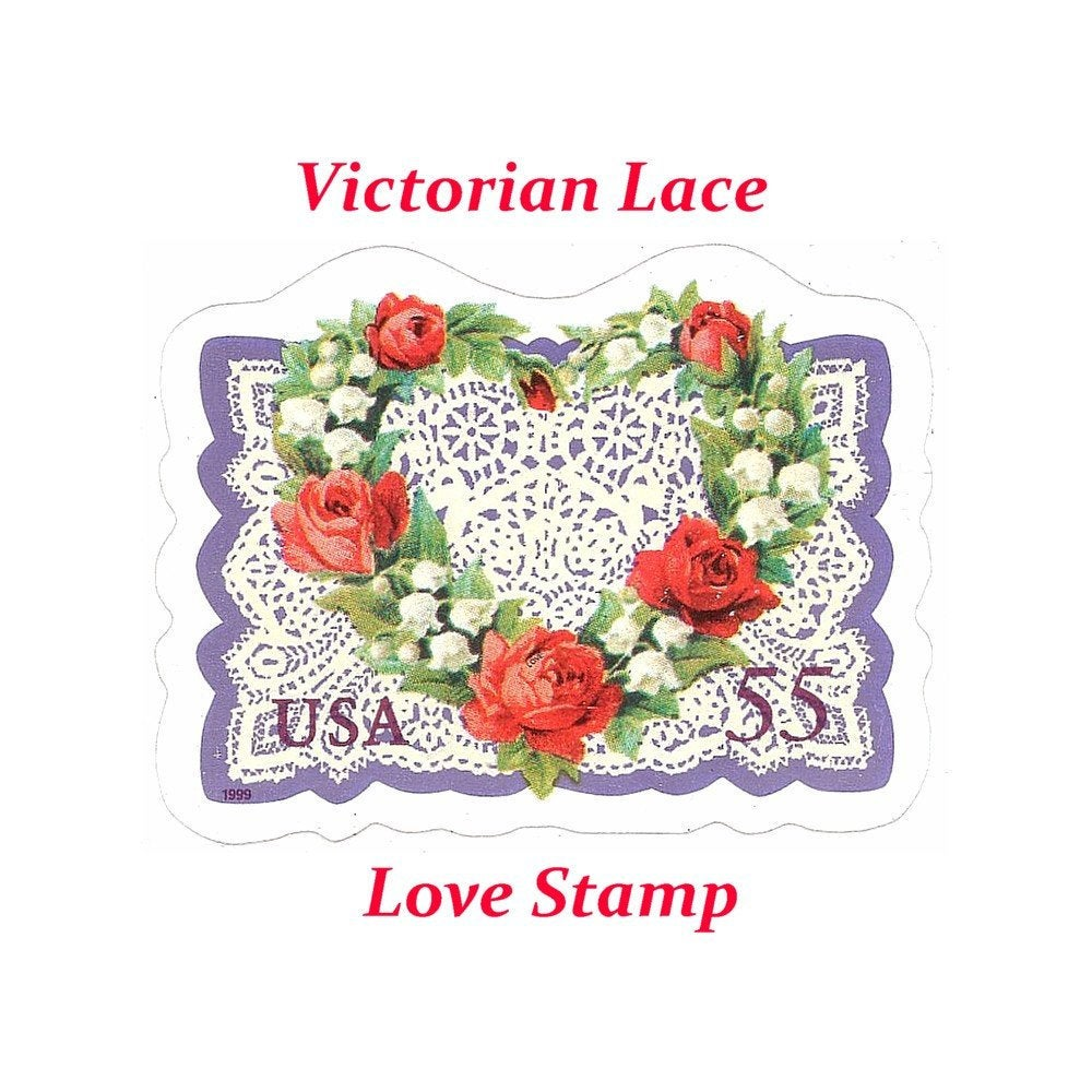 Five 55C Victorian Lace Love Stamps .. Unused Us Postage | Wedding Postage Love Stamp Self-Sticking