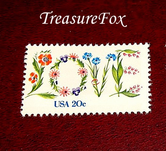 20C Floral Love Stamp .. Set Of 25 Unused Vintage Postage Stamps. Love in Flowers, Wedding Postage, Rsvps, Save The Dates & Thank Yous