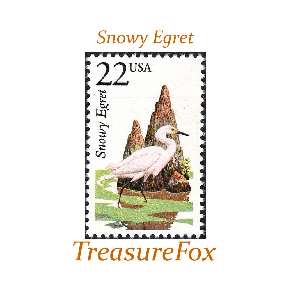 Five 22C Snowy Egret Stamps .. Unused Us Postage Pack Of 5 Stamps | Birds On Waterfowl Wedding Postage Southern Bride