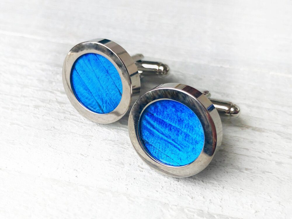 Real Butterfly Cufflinks For Groom Blue Groomsmen Men's Cuff Links Wedding Personalized Father Of The Bride