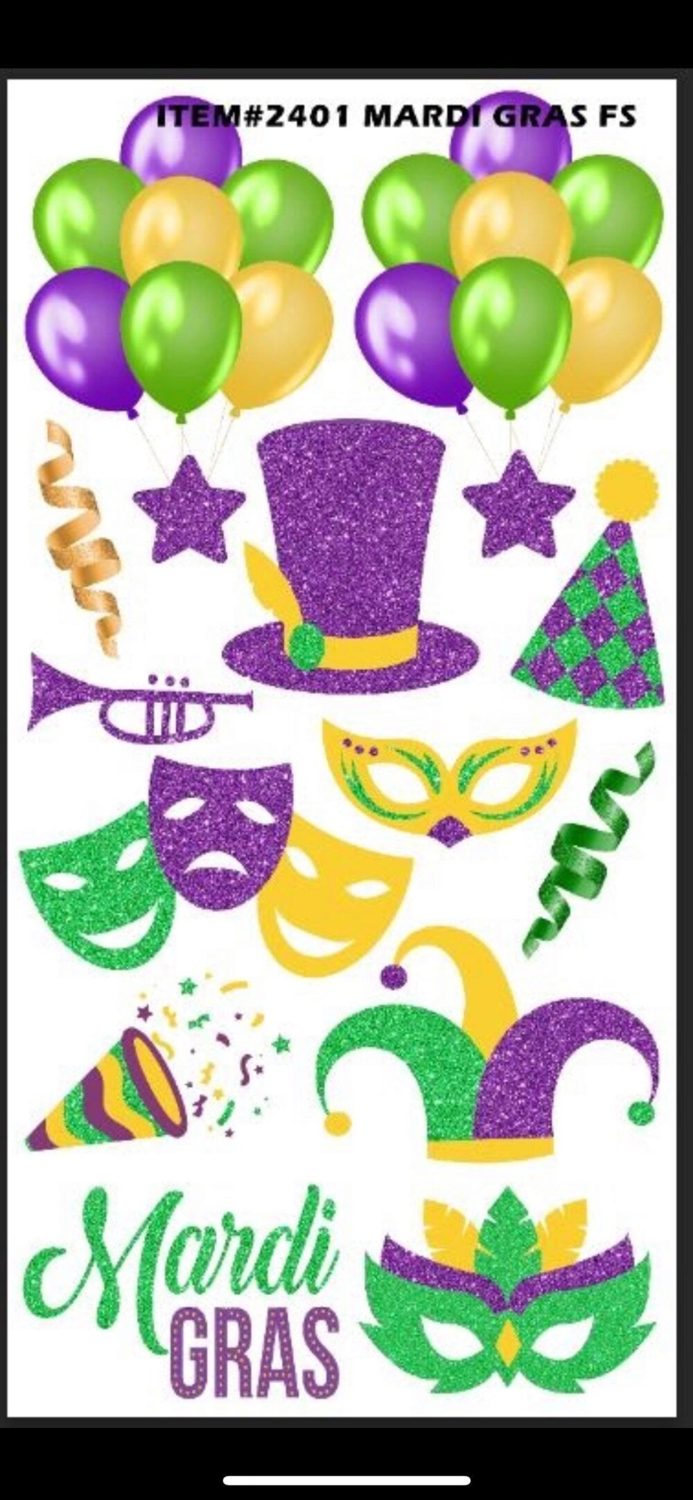 Yard Cards Mardi Gras Purple Yellow Green Celebration Beads Hats Balloons Fs Up083