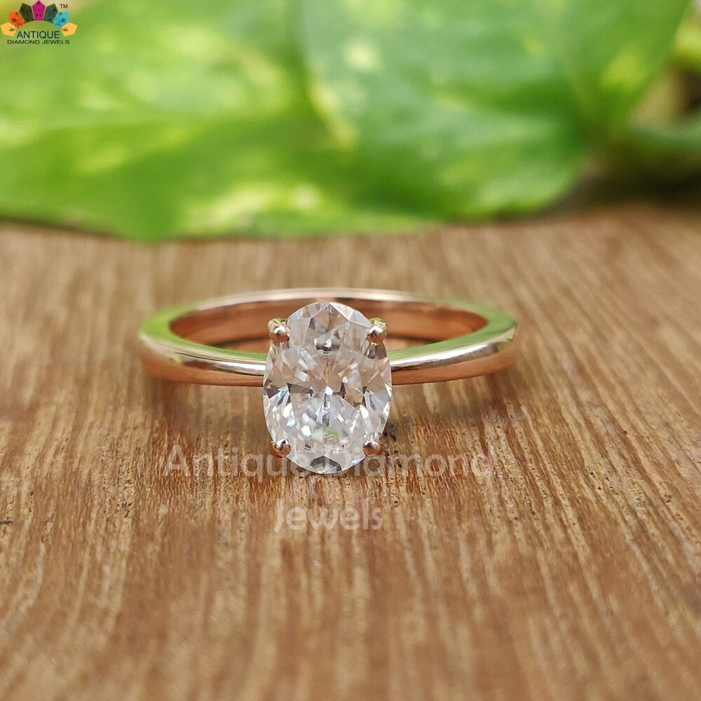 Tapered Shank Oval Colorless Moissanite Ring, 1.02 Ct Engagement Solitaire 10K/14K/18K Rose Gold Wedding Bridal
