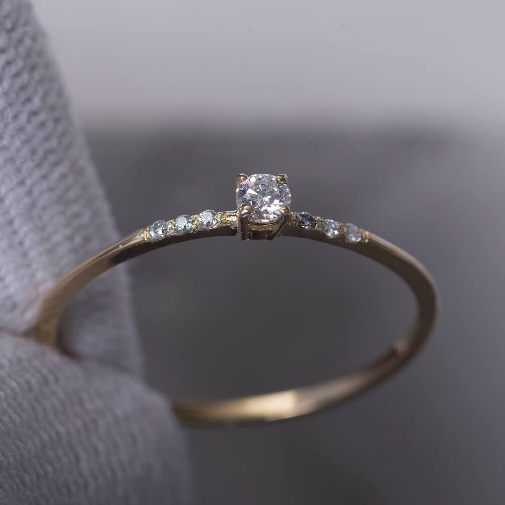 14K Gold Real Moissanite Ring For Women | Dainty Simple Engagement Delicate Proposal /