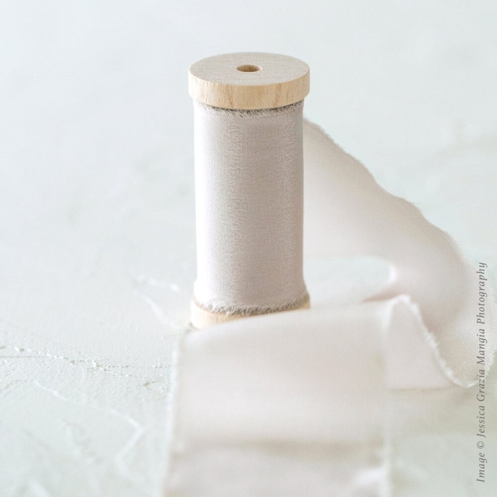 Papyrus | Luxe Silk Ribbon 100% Hand Ripped; Cream Beige Off White Wedding Bouquet, Invitations, Favors, Wedding Styling