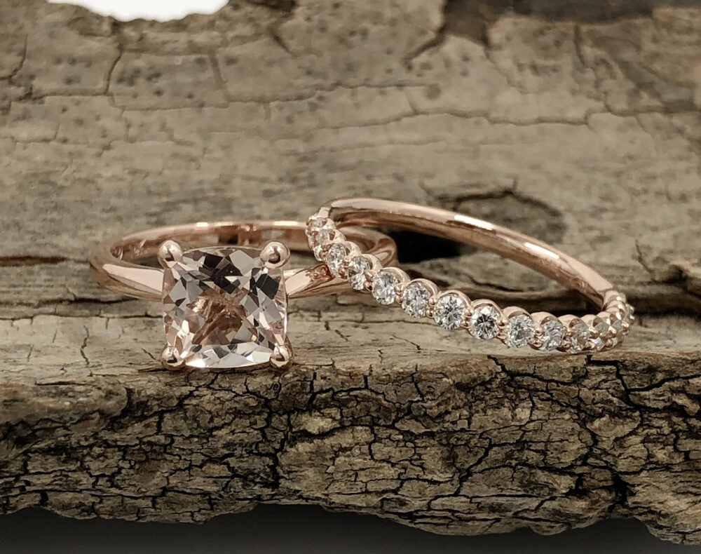 14K Rose Gold Engagement Ring Morganite 7mm Cushion Cut Solitaire Anniversary Stackable Diamond Wedding Band
