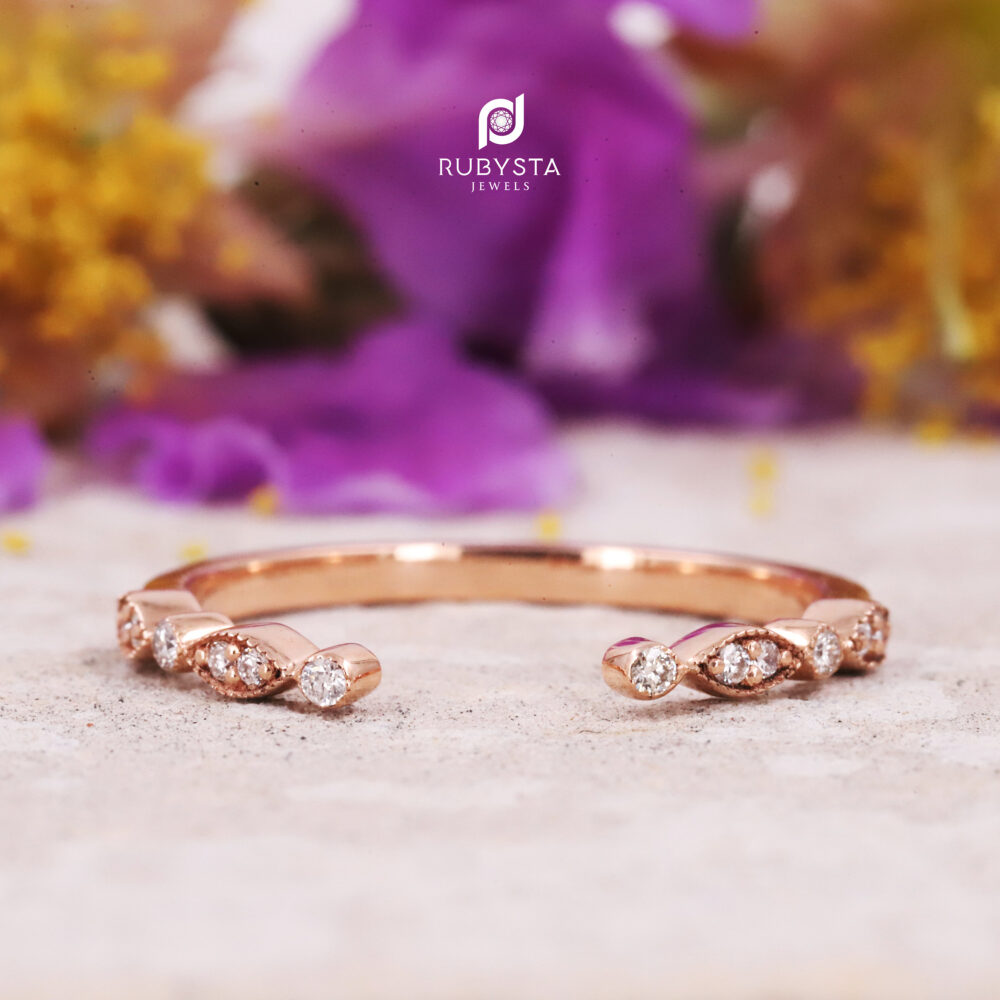 Half Eternity Band | Round Colorless Diamond Wedding Comfortable Rose Gold Engagement Ring