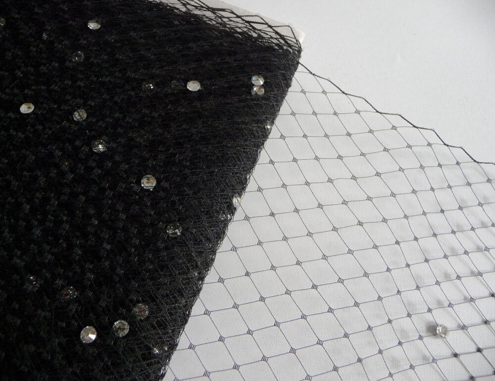 Black Veiling With Rhinestones Millinery Supply 9 Inch Birdcage Russian French Netting Diy Veils Blushers Costumes