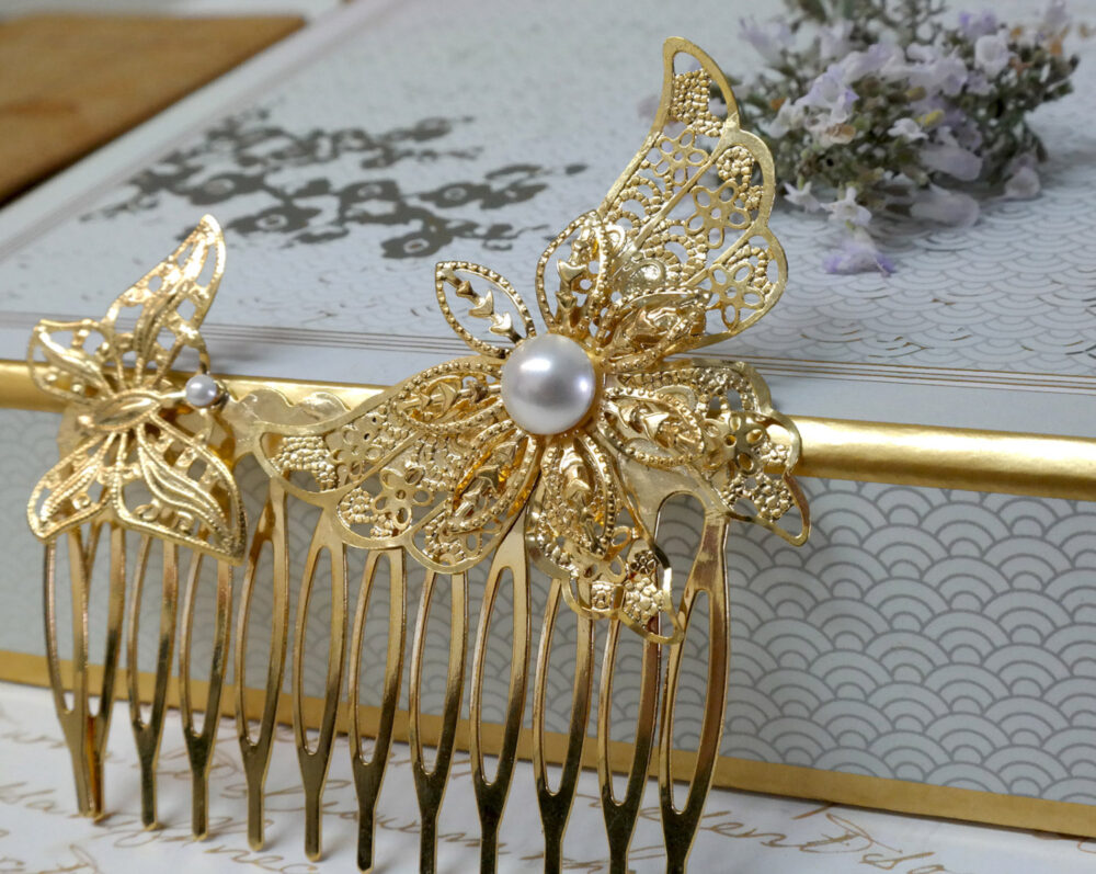 Wedding Decorative Comb, Hair Accessories, Gold Pearl Bridal Headpiece, Butterfly Comb
