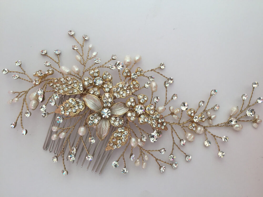 Bridal Hair Comb With Fresh Water Pearls Wedding Hair Comb, Wedding Accesories, Pearl Comb, Crystal Comb, Bridal Head Pieces