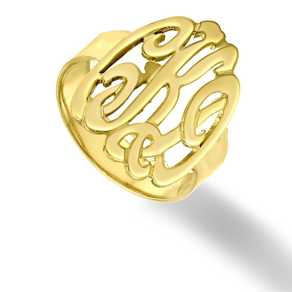 10K, 14K Or 18K Solid Gold Initials Ring - Handmade Monogram | Order Your Initials White, Yellow Rose