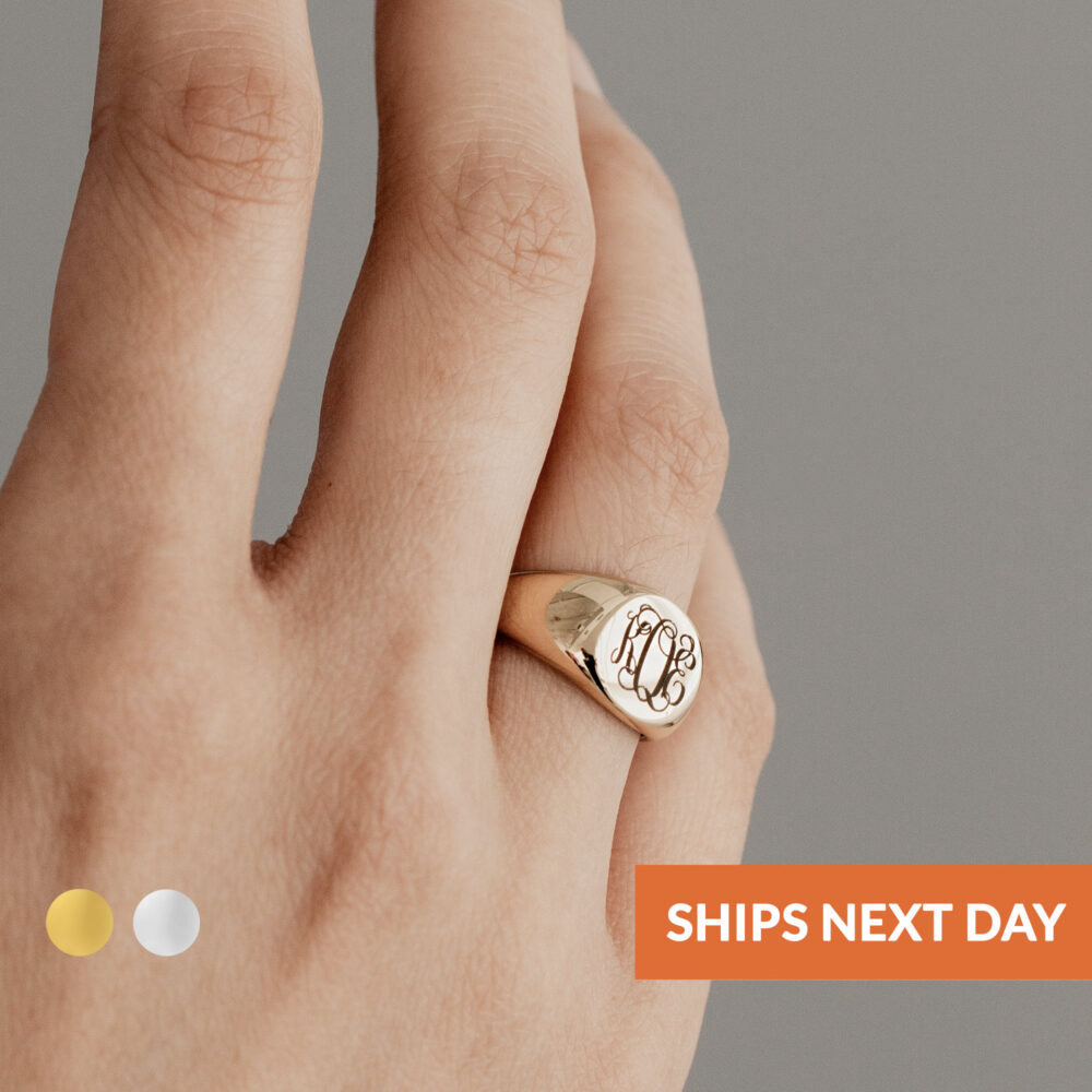 Monogram Signet Ring Personalized Gold Jewelry Engraved Womens Initial Mother's Day Gift For Her