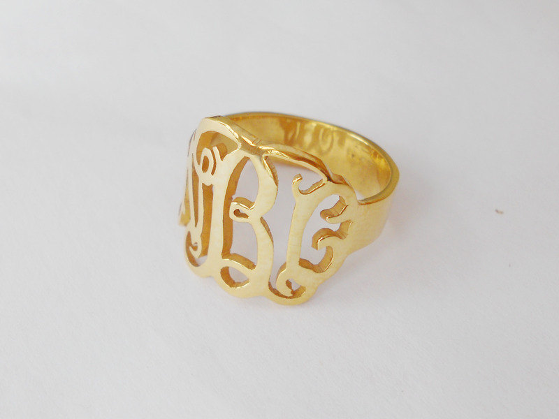 Handmade Monogram Ring Gold, Any Initial Ring, Personalized 3 Ring, Womens Ring, Cut Out Ring, Name
