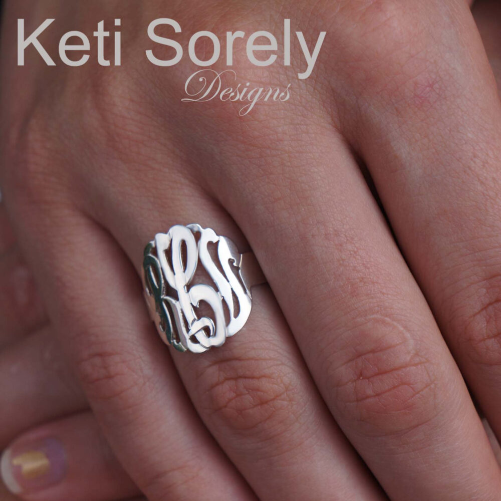 10K, 14K Or 18K Solid Gold Script Monogram Initials Ring | Order Your Initials Yellow, Rose White