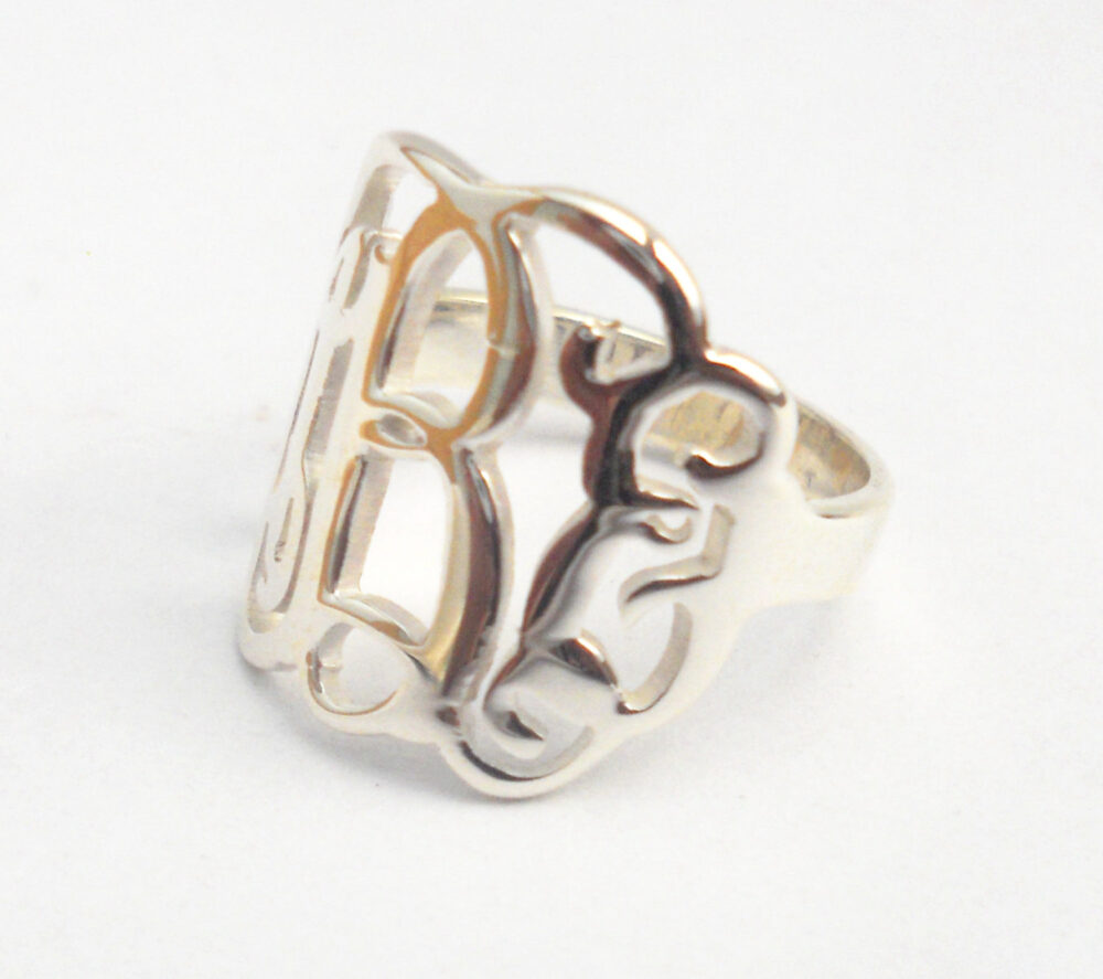 sterling Silver Monogram Ring, Monogram Initial Ring, Personalized 3 Ring, Womens Ring, Cut Out Ring