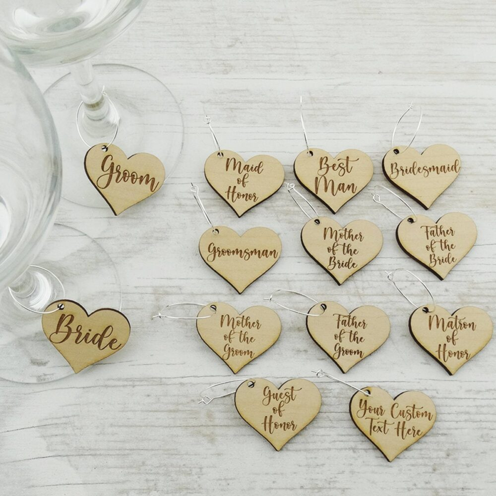 Wedding Guest Wine Glass Charm Markers - Laser Engraved Wood Favor Table Decor Comes With Silver Hooks