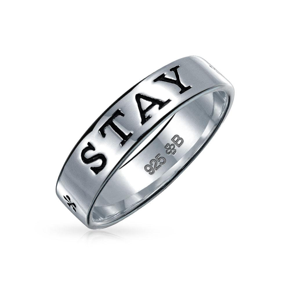 Sentimental Word Engraved Stay Strong Purity Promise Ring Band For Teen Women 925 Sterling Silver