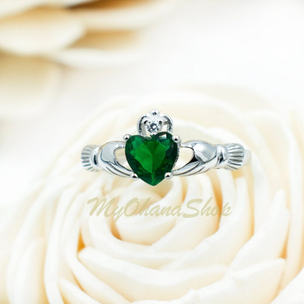 sterling Silver Claddagh Ring Cz Heart For Women, Teen Girls. Celtic, Irish Wedding, Promise, Purity Love Ring. Valentine's Day Gift Her
