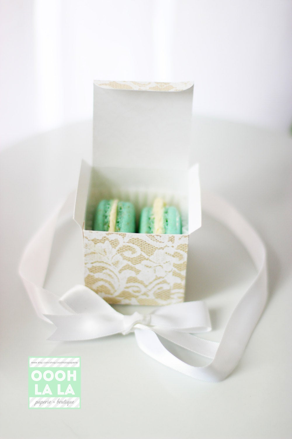Made To Order Floral Lace & Burlap Favor Box With Ribbon in Ivory Or White - Set Of 6 12 Assembled