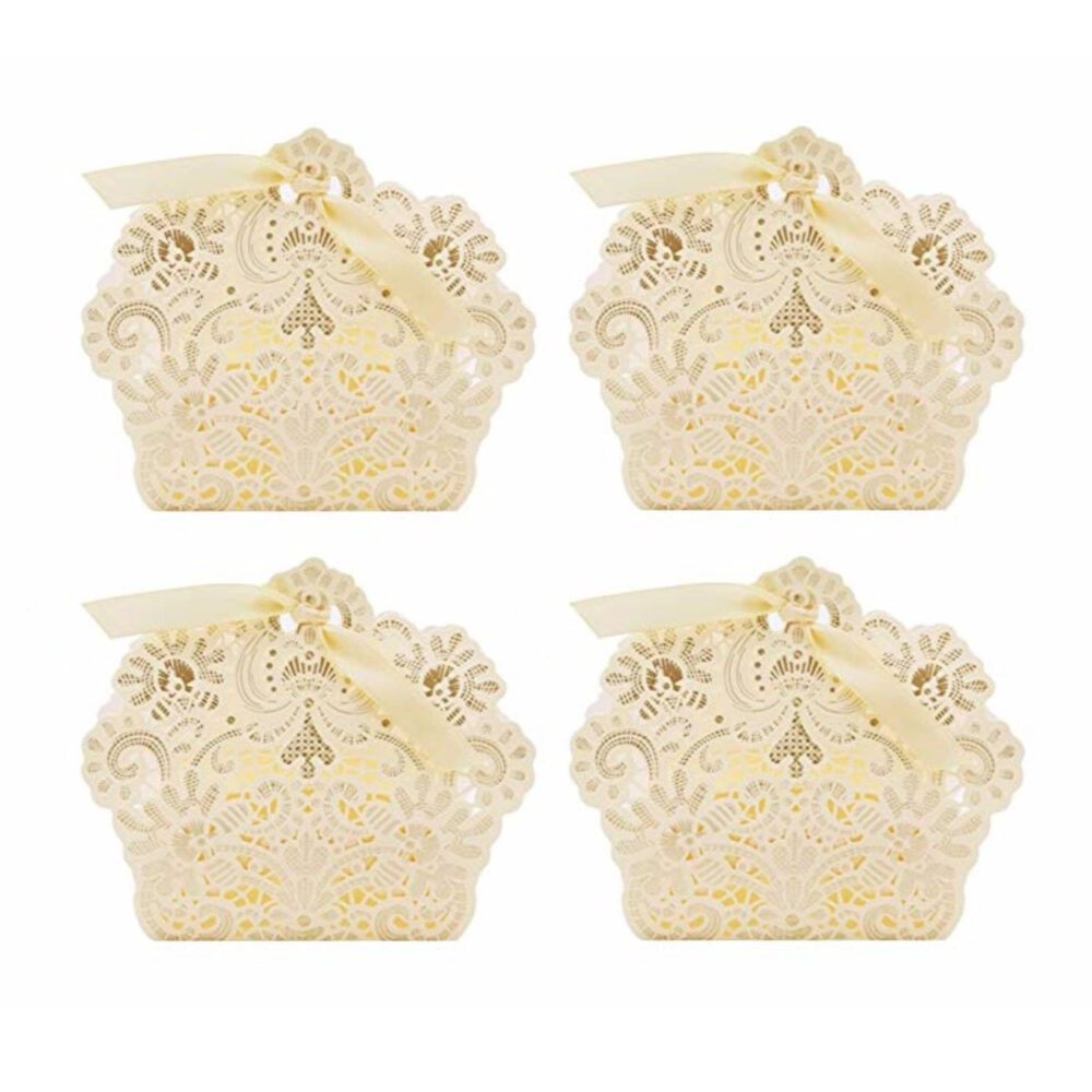 "100 Pcs Cream White Lace Gift Boxes - 3.5""x4.3"" Laser Cut Wedding Party Favors Engagement Jewelry Bridal Shower"
