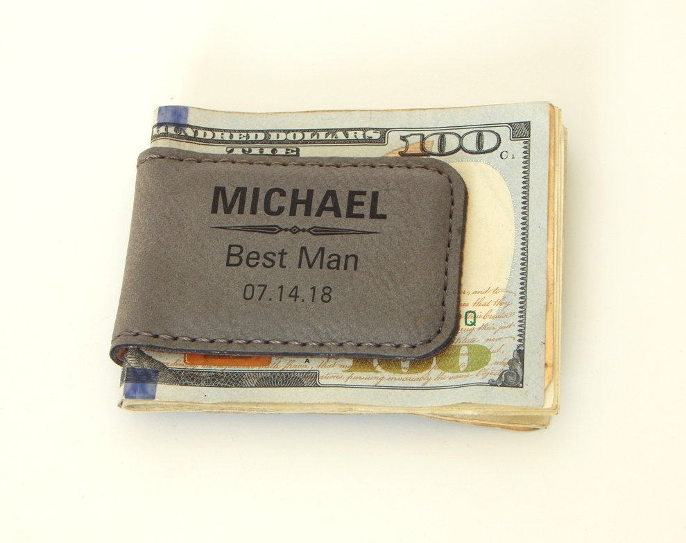 Personalized Money Clip - Gift For Groomsman Groomsmen Gifts Wedding Leather Clips, Mc05