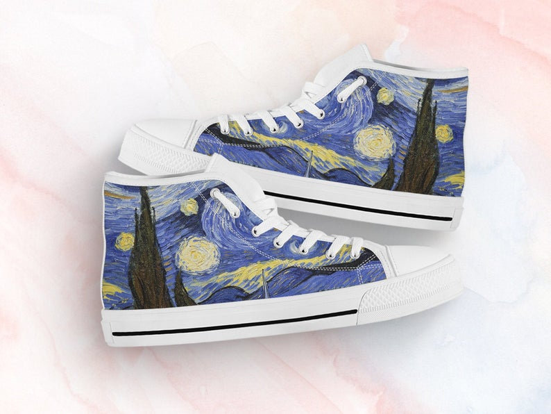 Van Gogh Shoes Starry Night Sneakers For Art Lovers Gifts Custom High Top Converse Style For Kids Adults Women & Men