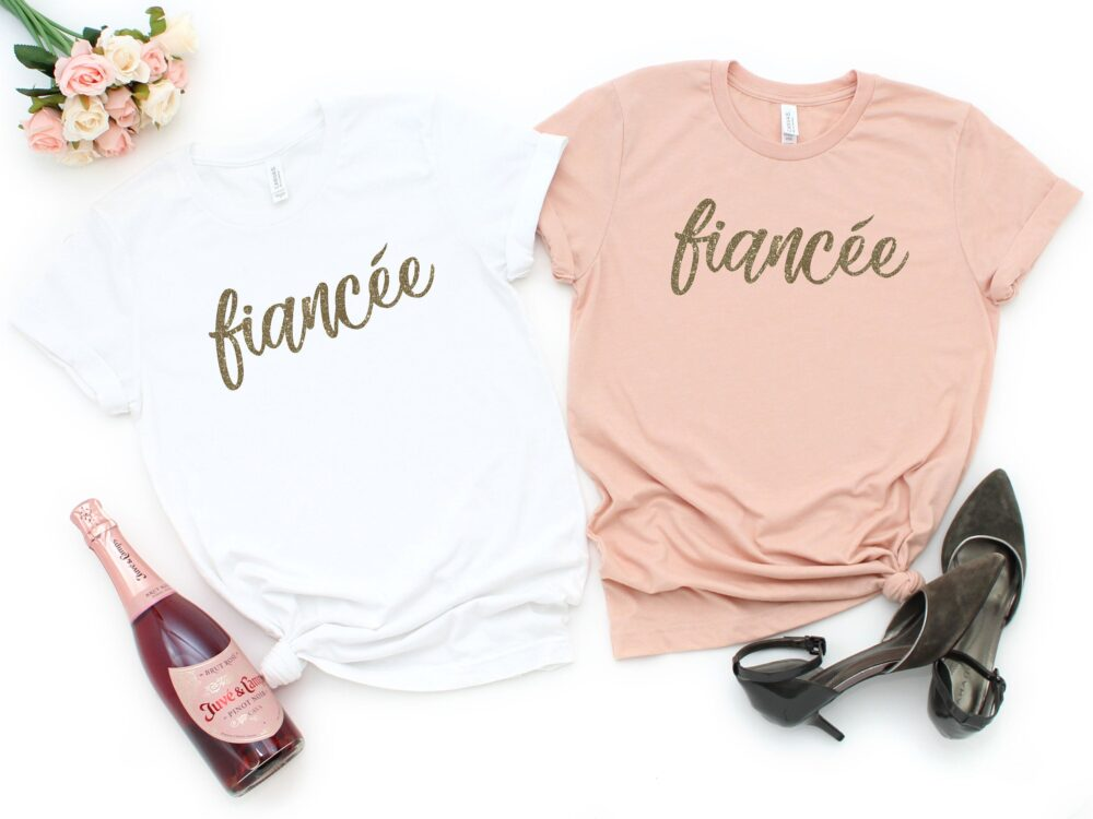 Fiancee Shirt, Shirts, Gold Shimmer T-Shirt, Statement Tee, Just Engaged, Engagement Gift, Wedding, Engagement, Gold Fiancee Tee