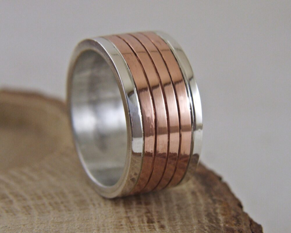 11mm , Extra Wide , Silver & Copper Handmade Rustic Band -Silver Wedding Band
