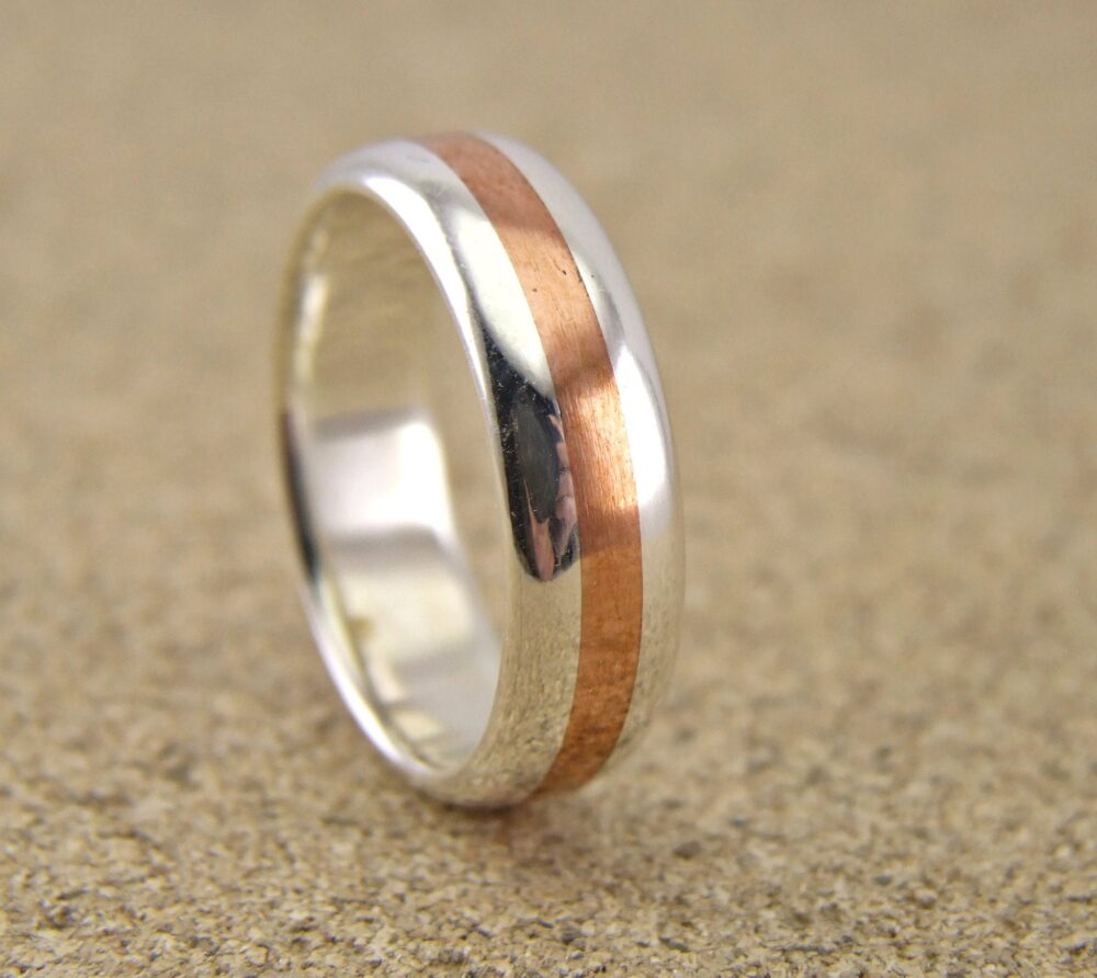 5.5mm - 6.5mm, Silver & Copper Handmade Half Round Wedding Band , -Silver Bands, Real Arts