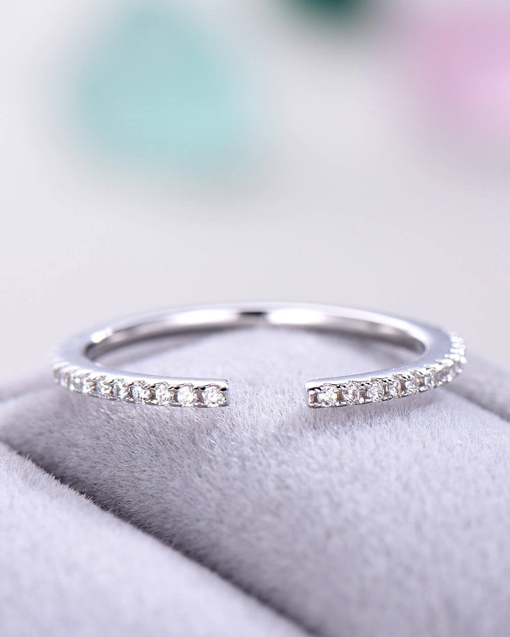 Cz Wedding Band Women 14K White Gold Sterling Silver Open Pave Eternity Stacking Bridal Ring Anniversary Matching Cubic Zircon Thin Set