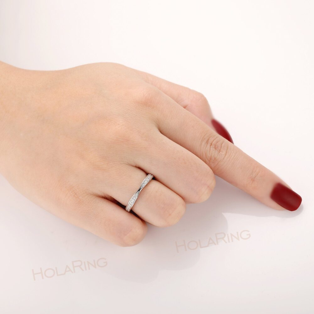 Delicate Wedding Band Ring/ Women's Engagement Handmade Design Gold Plated Bridal Simulated Diamond Minimalist Daily Ring