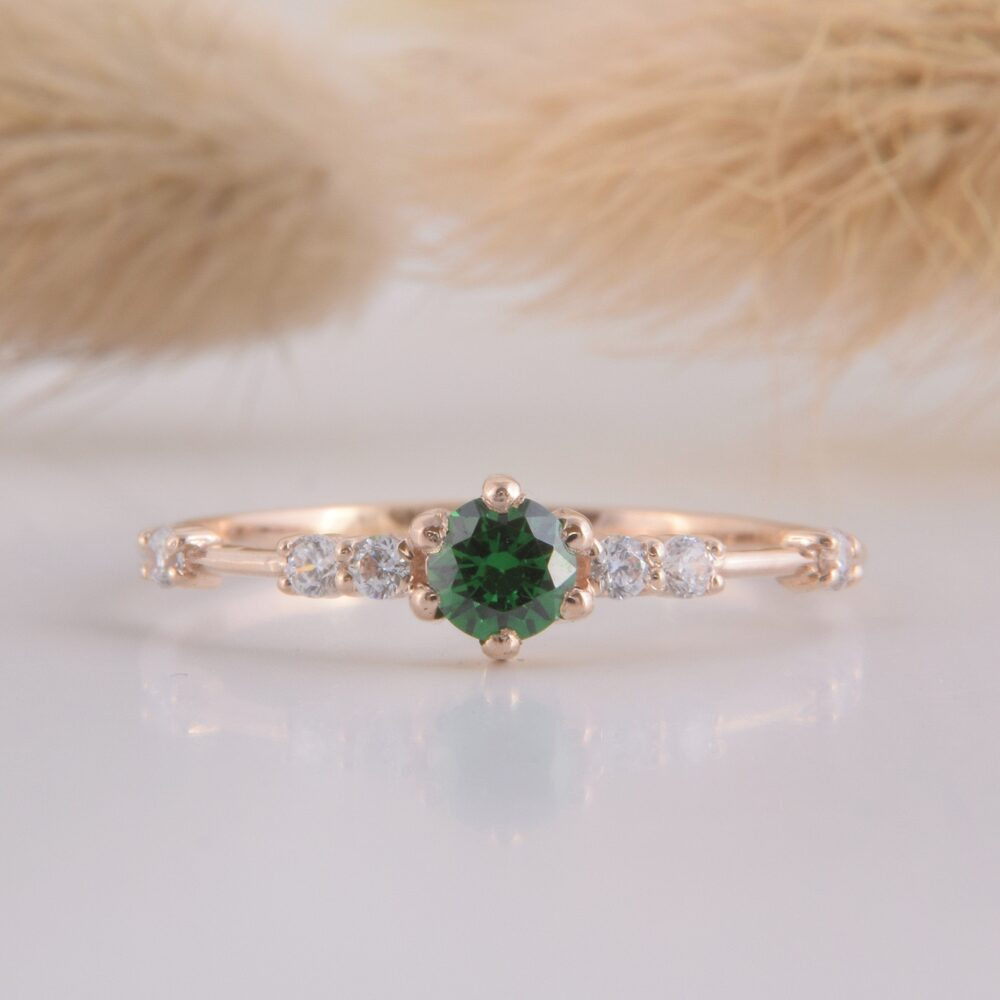 Womens 14K Rose Gold Dainty Emerald Promise Ring, Small & Delicate Ring For Her, Engagement