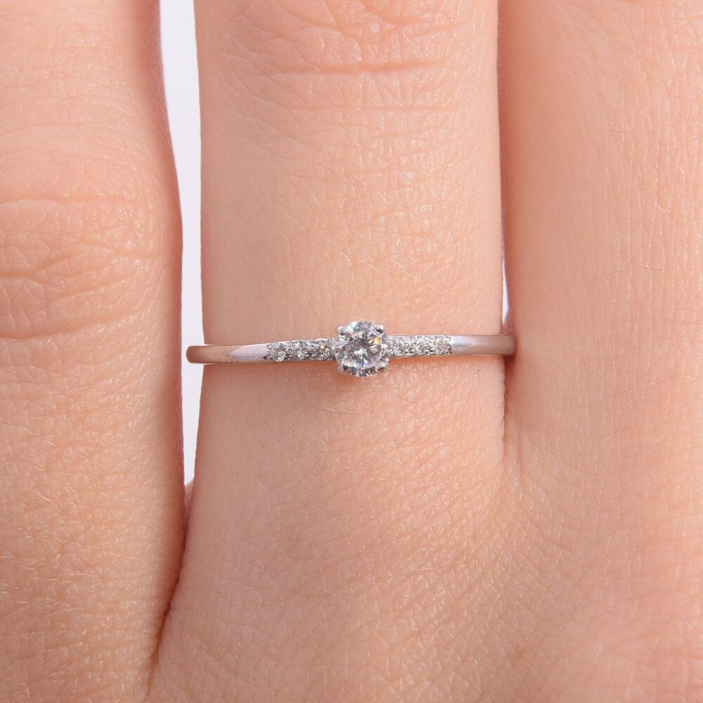 14K Solid White Gold Dainty Promise Ring For Her, Womens Ring, Delicate Minimalist Small & Simple