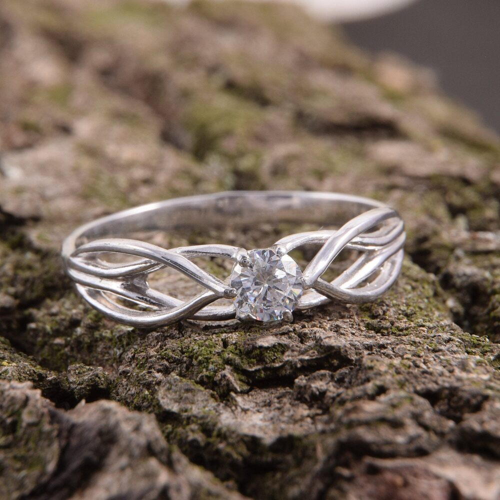 Unique 925 Sterling Silver Celtic Style Solitaire Promise Ring For Her, Dainty Vintage White Cz Antique Womens Engagement