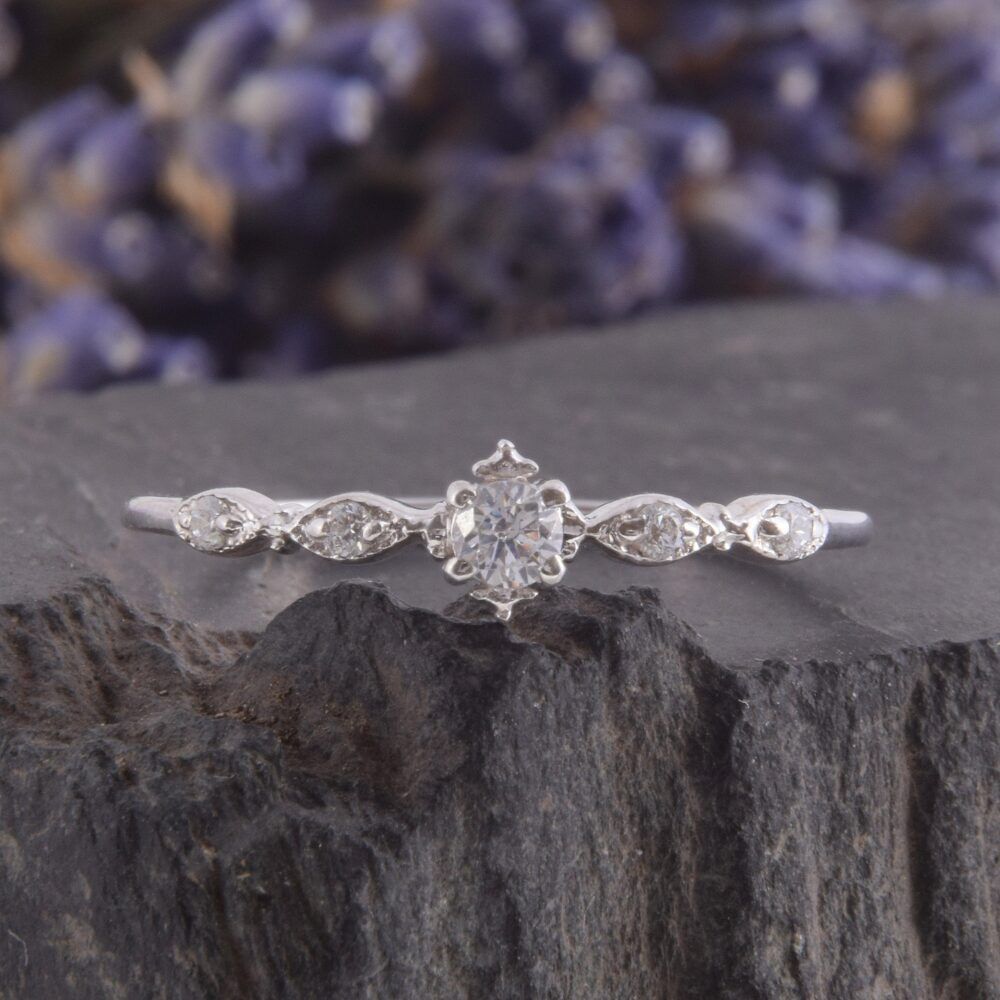 925 Sterling Silver Small & Dainty White Topaz Promise Ring, Unique Delicate Art Deco Womens Silver Tiny Engagement Ring