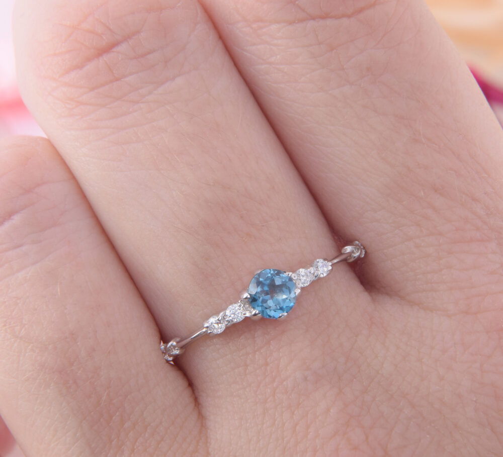 Small & Delicate Blue Topaz Silver Promise Ring For Her, Simple Minimalist Womens Ring, Womens Engagement