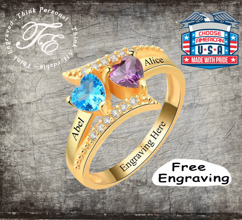 Vintage Style Promise Ring 2 Stone With Engraved Names Birthstones Personalized 14K Gold Ip