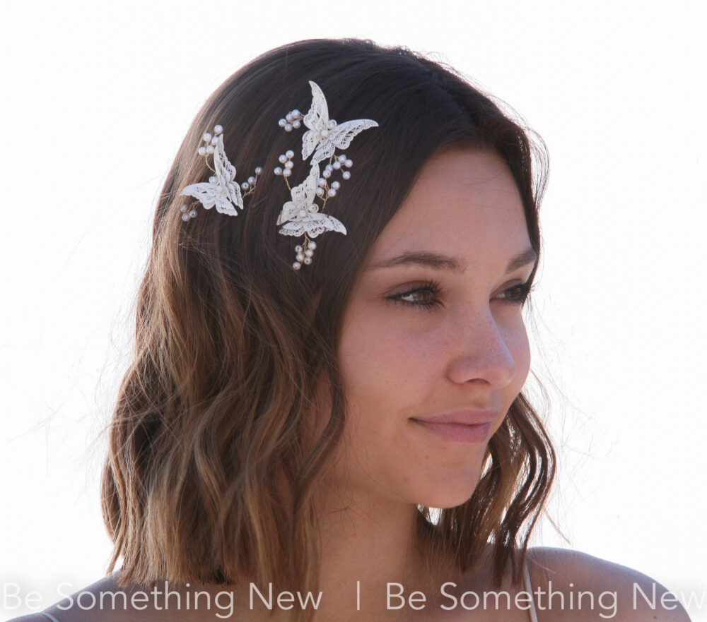 White Metal Butterfly Hair Pins With Sprays Of Wired Pearls Beaded Boho Wedding Pin Set