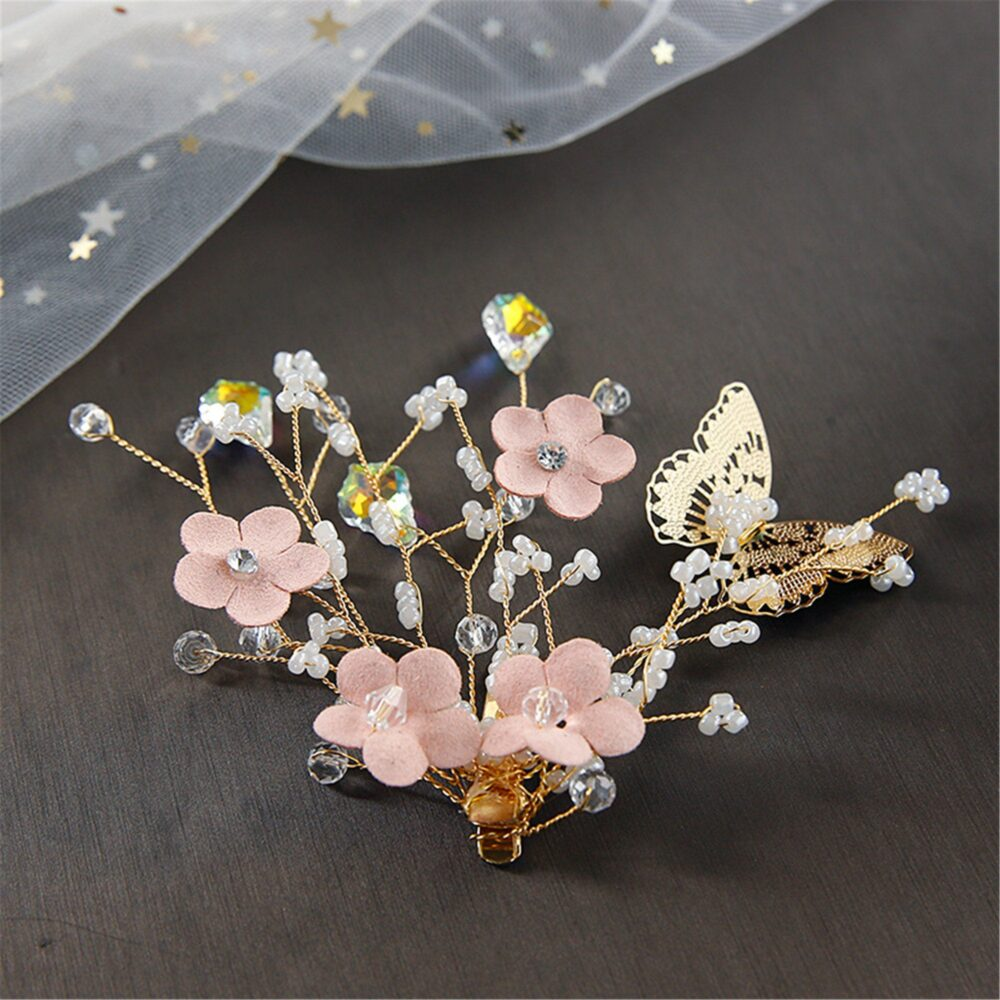 Pink Flower Bridal Hair Vine Golden Butterfly For Bride Wire Hairpiece Wedding Hair Clips Accessory Floral Clip