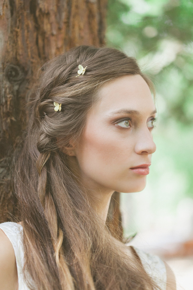 Gold Butterfly Bobby Pins Hair Clips Accessories Rustic Woodland Wedding Bridal