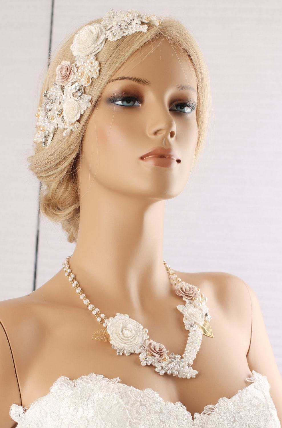 Lace Hairpiece, Wedding Hair Accessories, Headpiece, Embroidered Flower Combs, Necklace, Pearl