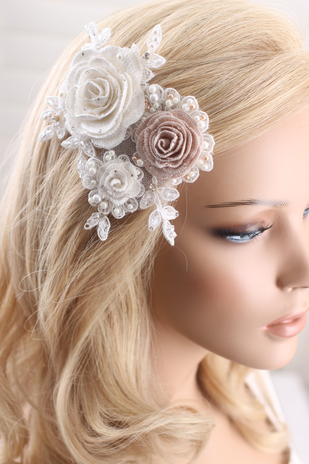 Classic Bridal Wedding Beaded Lace Hairpiece, Embroidered Flower Hair Comb, Accessories, Headpiece, Comb