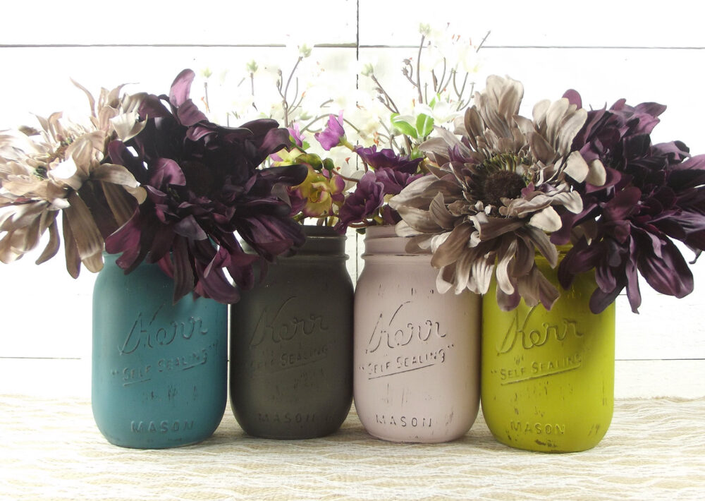 Painted Mason Jars For Rustic Wedding Decor, Featuring 4 Pint A Centerpiece