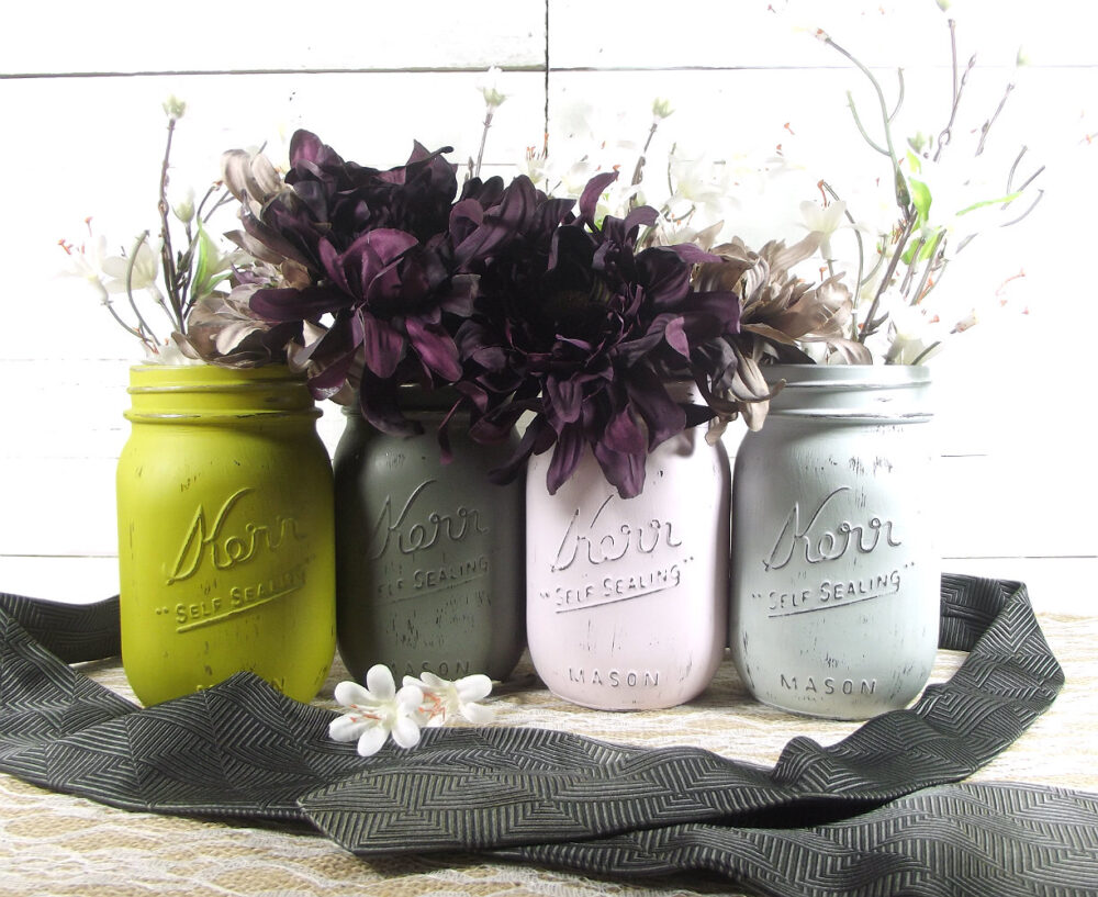Gray Wedding, Wedding Decorations, Mason Jar Painted Jars, Romantic Rustic Centerpiece, Decor