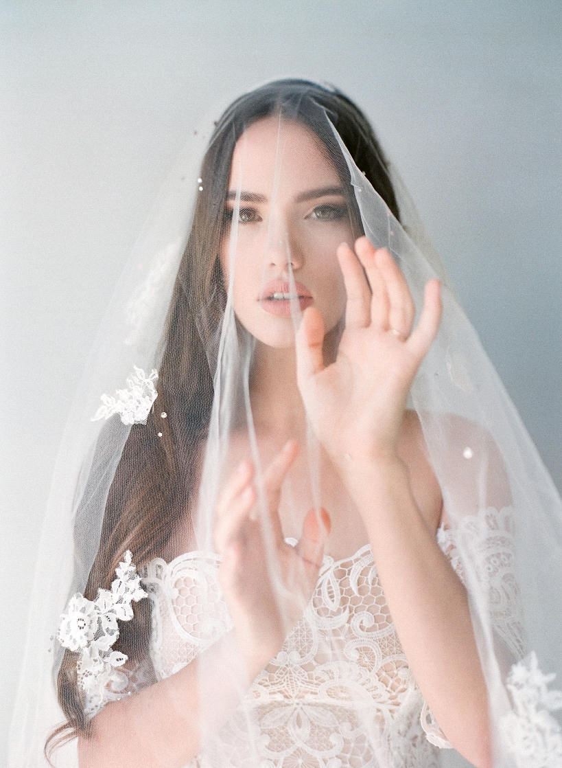 Bridal Mantilla Veil-Double Layer Veil-Fingertip Veil-Drop Veil-Swarovski Scattered Crystal Veil-Lace Blusher Veil-Cathedral Veil-style 220