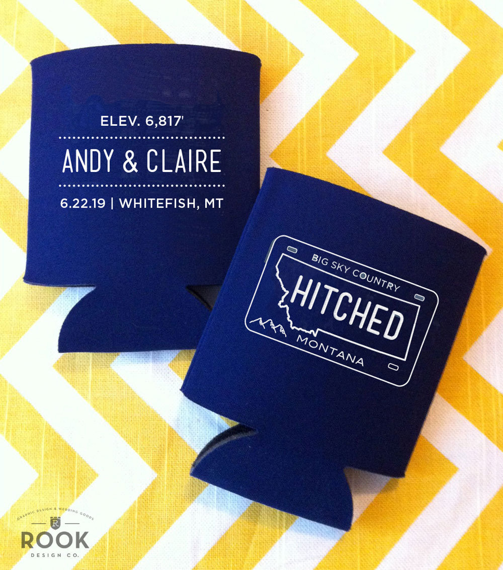 Montana License Plate Wedding Favor, Montana Can Coolers, Custom Coolies, Koozie, Personalized Mt Cosy