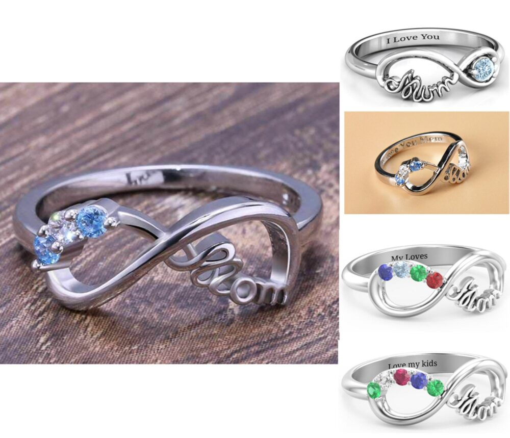 Custom Mom Infinity Ring, Personalize Mother Ring Birthstone Ring, Engraved 2, 3, 4, 5 Stone Family Gift For Mother's Day, Woman
