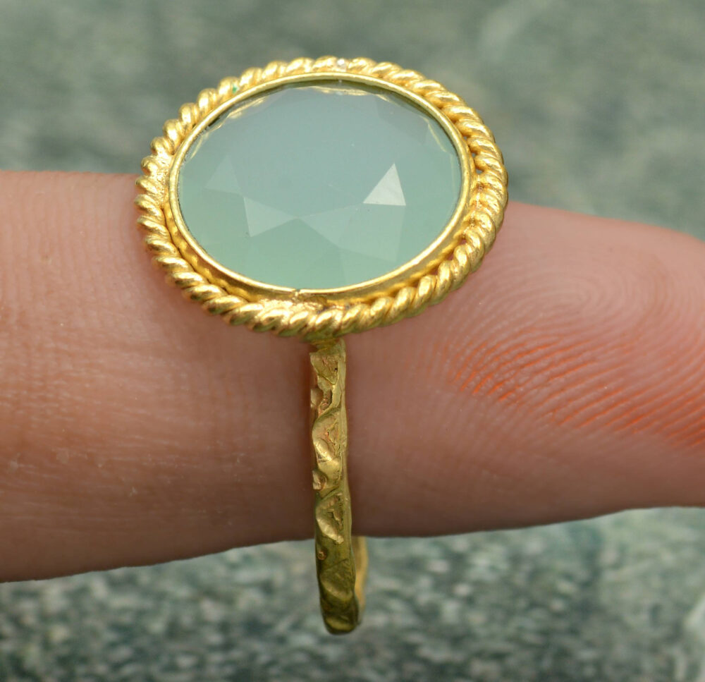 Aquamarine Round Cut Gemstone Ring, Fashion Brass Ring, Mother's Day Ring, Ring For Mom, Unique Ring, Vintage Ring, Statement Ring