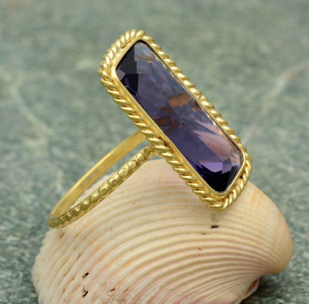 Amethyst Cut Ring, Statement Ring, Anniversary Brass Ring, Mother's Day Ring, Ring For Mom, Vintage Ring, Promise Ring, Gift Her, Mother's Ring